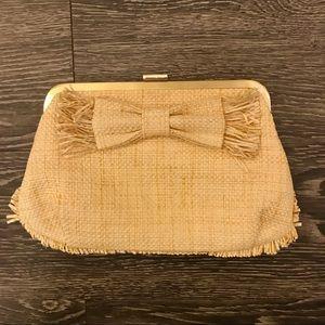 JCrew straw clutch purse with bow